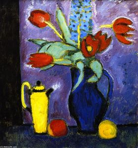 Alexej Georgewitsch Von Jawlensky - Still Life with Tulips, Blue Jug, Yellow Coffee Pot