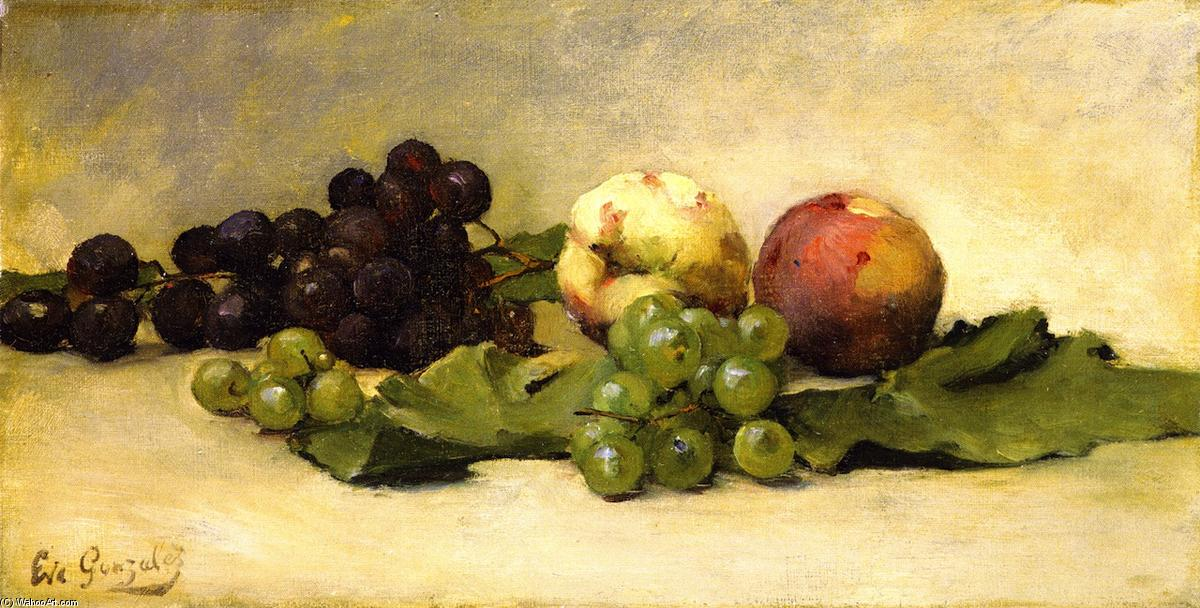 famous painting Still LIfe with Two Peaches and Grapes of Eva Gonzales