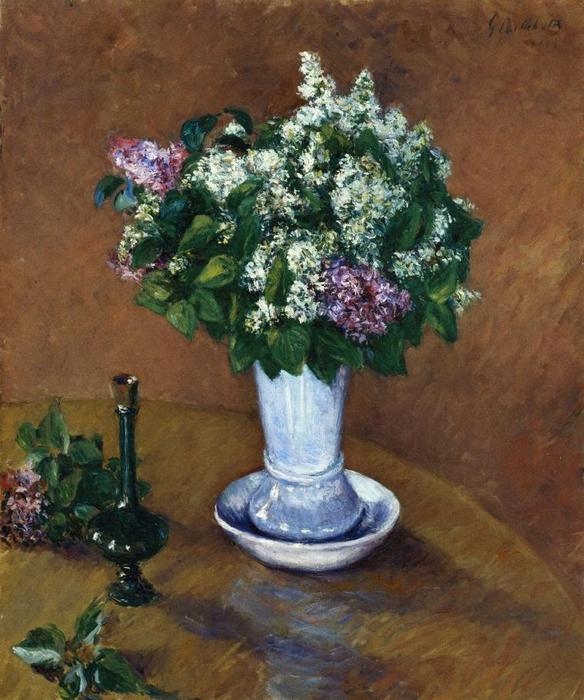 famous painting Still Life with a Vase of Lilacs of Gustave Caillebotte