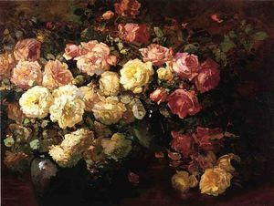 Franz Bischoff - Still Life with White and Pink Roses