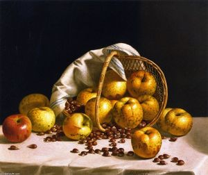John F Francis - Still LIfe, Yellow Apples and Chestnuts Spilling from a Basket
