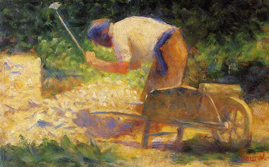 famous painting Stone Breaker and Wheelbarrow, Le Raincy of Georges Pierre Seurat