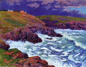 Henri Moret - Storm, the Coast of Finestere