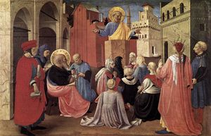 Fra Angelico - St Peter Preaching in the Presence of St Mark (Linaioli Tabernacle)