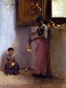 John Singer Sargent - Stringing Onions (also known as Italian Interior, Capri)