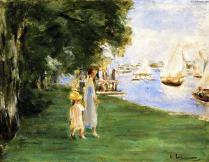 Max Liebermann - Strolling by the Wannsee Shore