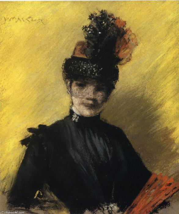 famous painting Study of Black against Yellow (also known as Portrait of Mrs. Chase) of William Merritt Chase