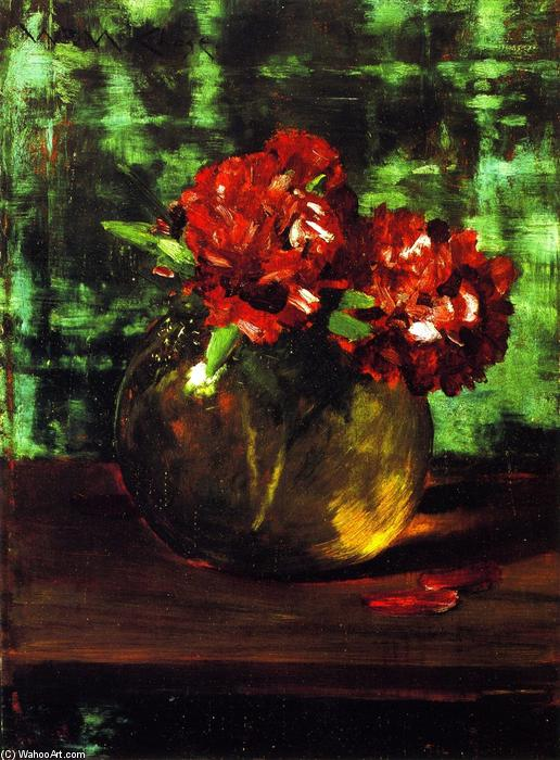 famous painting Study of Flowers, Red against Green (also known as Still LIfe) of William Merritt Chase