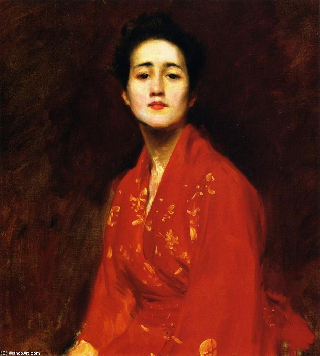 famous painting Study of Girl in Japanese Dress of William Merritt Chase