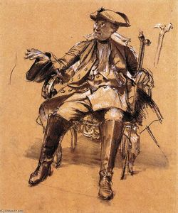 Adolph Menzel - Study of Model for Frederick II in an Armchair