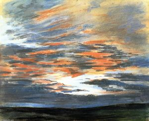 Eugène Delacroix - Study of the Sky at Sunset