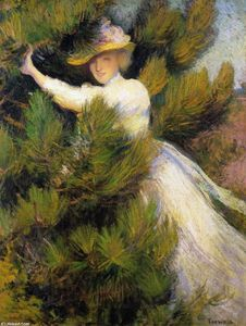 Edmund Charles Tarbell - Summer Idyll (also known as Girl and Pine Trees)