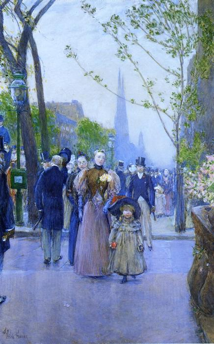 famous painting Sunday on Fifth Avenue (also known as Fifth Avenue, Church Parade) of Frederick Childe Hassam