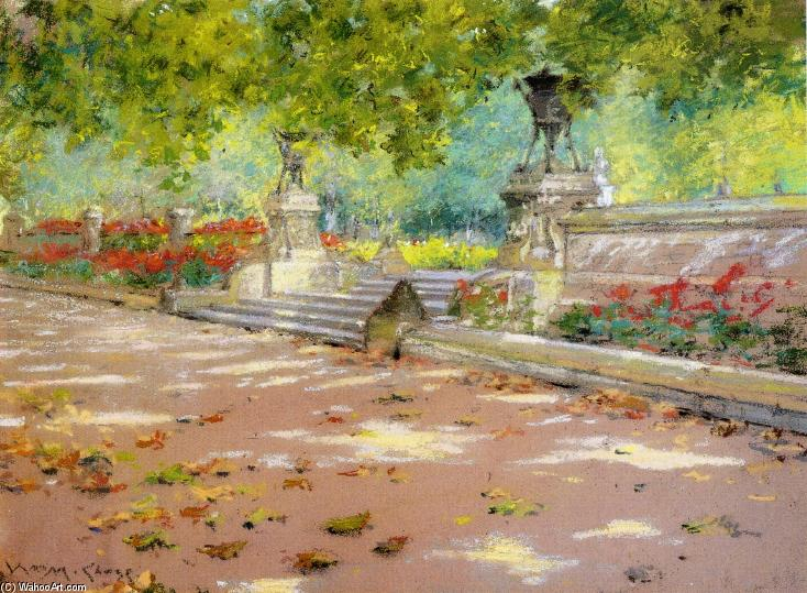 famous painting Sunlight and Shadow in Prospect Park (also known as Sunlight and Shadow) of William Merritt Chase
