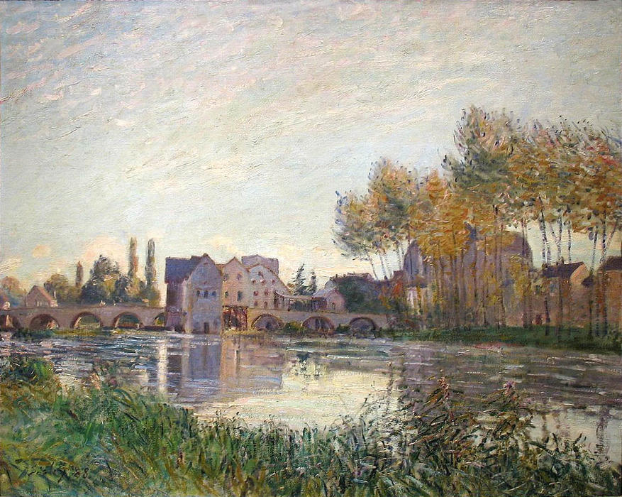famous painting Sunset at Moret of Alfred Sisley