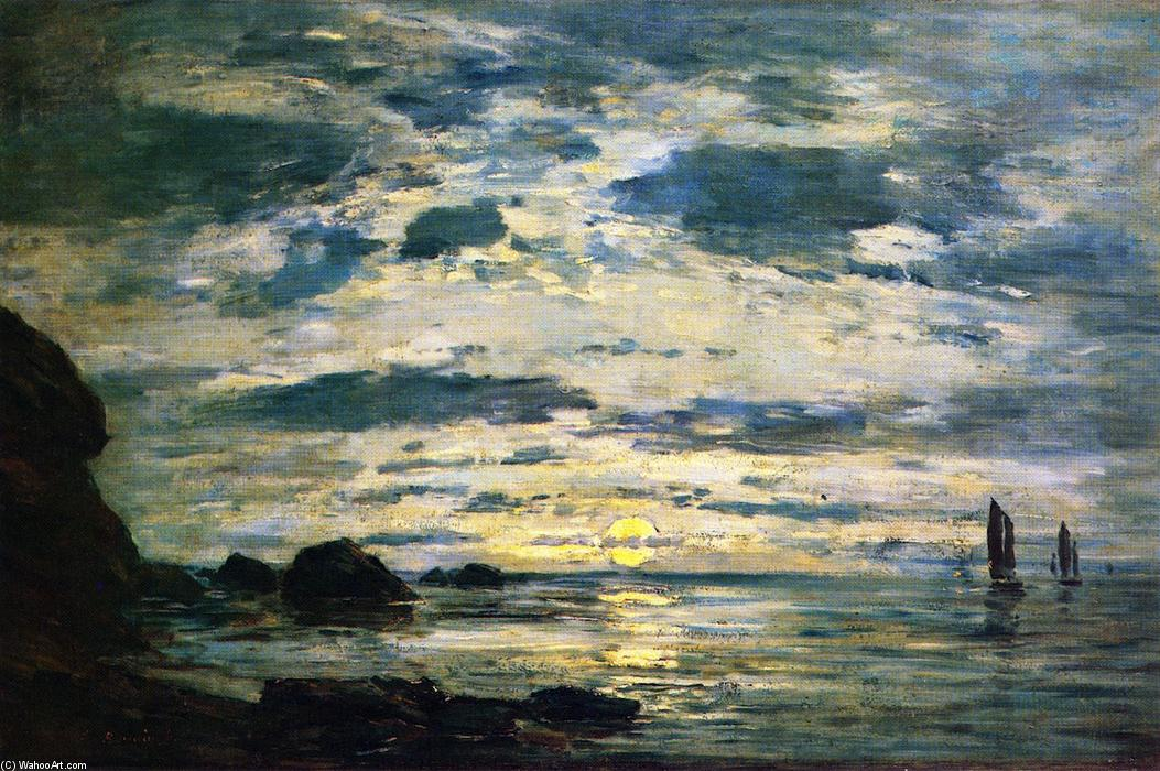 famous painting Sunset over the Sea of Eugène Louis Boudin