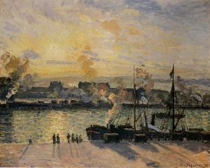Camille Pissarro - Sunset, the Port of Rouen (also known as Steamboats)