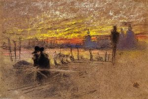 James Abbott Mcneill Whistler - Sunset: Red and Gold - The Gondolier