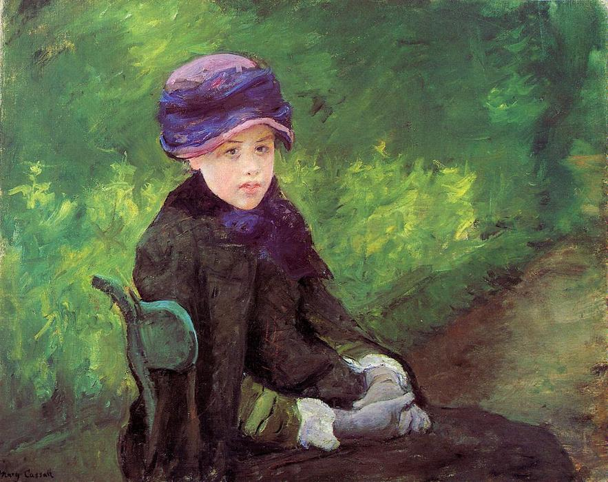 famous painting Susan Seated Outdoors Wearing a Purple Hat of Mary Stevenson Cassatt