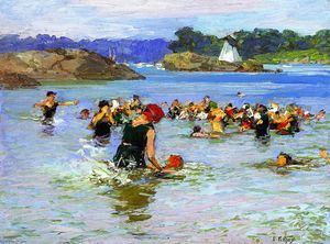 Edward Henry Potthast - The Swimming Lesson