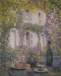 Henri Eugène Augustin Le Sidaner - Table at the Mansion with Flowers