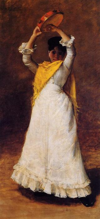 famous painting The Tamborine Girl (also known as Mrs. Chase as a Spanish Dancer) of William Merritt Chase