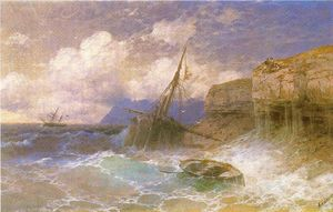 Ivan Aivazovsky - Tempest by coast of Odessa