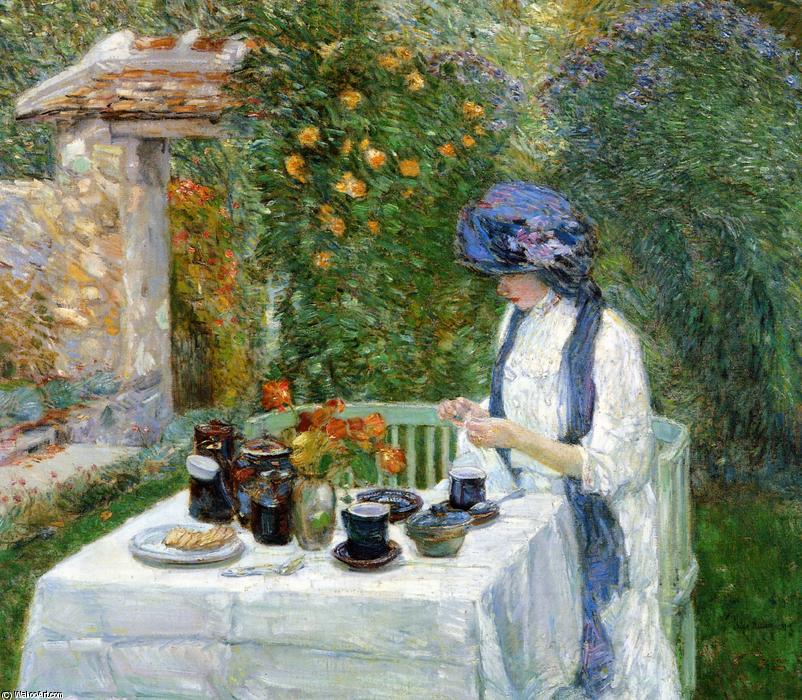 famous painting The Terre-Cuite Tea Set (also known as French Tea Garden) of Frederick Childe Hassam