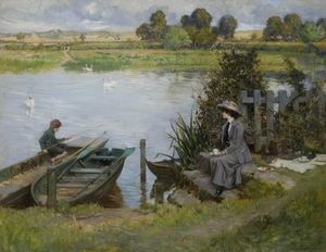 Albert Chevallier Tayler - The Thames at Benson, Oxfordshire