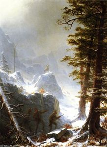 Albert Bierstadt - Three Hunters Stalking a Big Horn Sheep in a Snow Squall