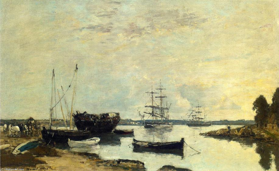 famous painting Three Masted Ship in the Harbor of Eugène Louis Boudin