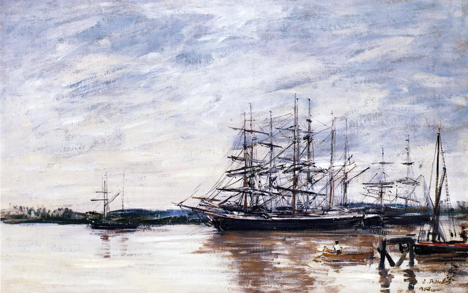 famous painting Three Masted Ship in Port, Bordeaux of Eugène Louis Boudin