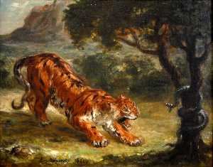 Eugène Delacroix - Tiger Growling at a Snake