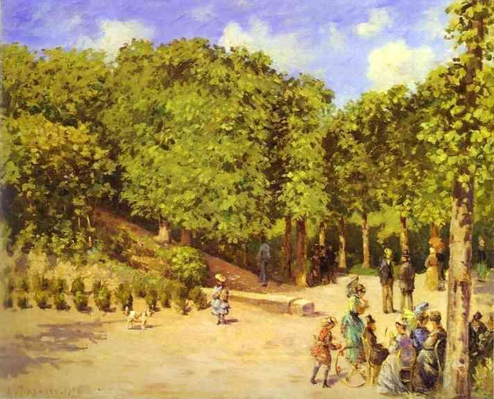 famous painting Town Garden in Pontoise of Camille Pissarro