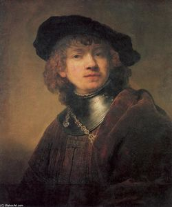 Rembrandt Van Rijn - Tronie of a Young man with Gorget and Beret (previously regarded as a self portrait)