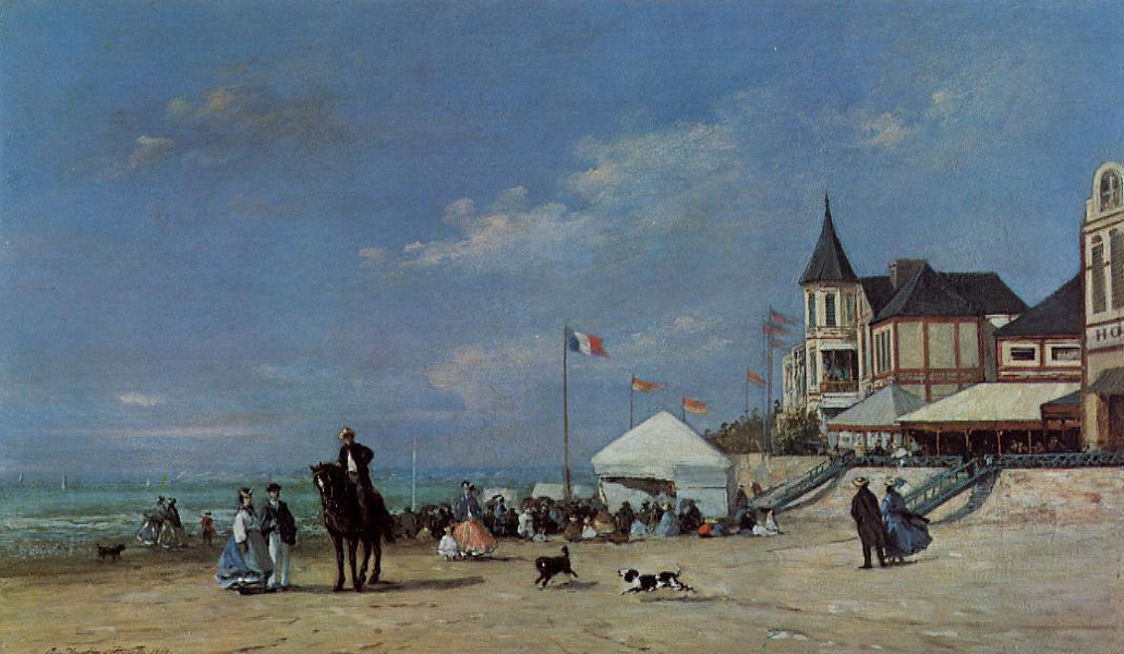 famous painting The Trouville Beach of Eugène Louis Boudin