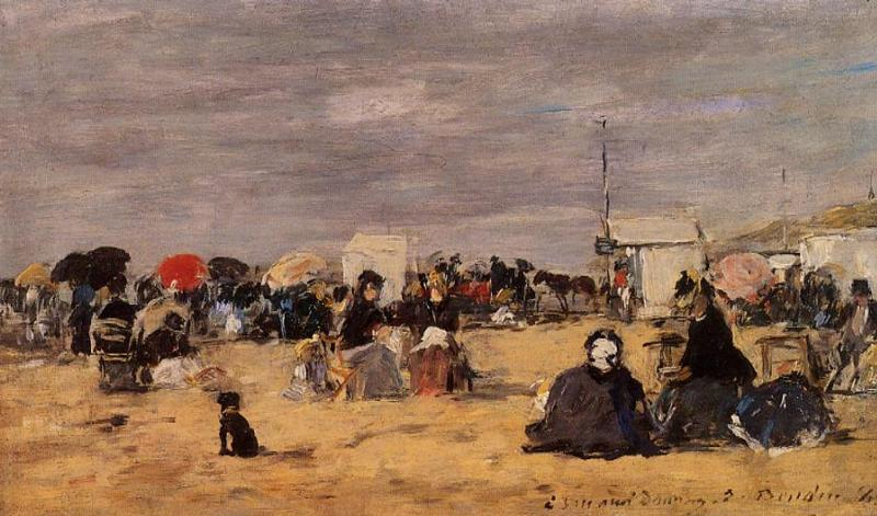 famous painting Trouville, Beach Scene of Eugène Louis Boudin