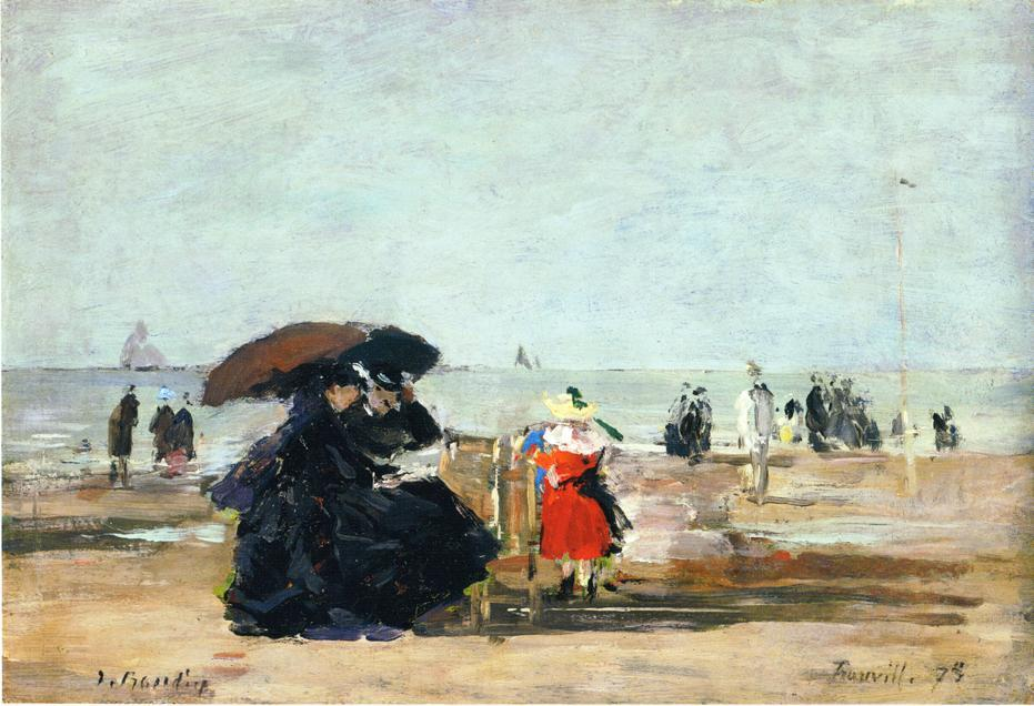 famous painting Trouville, Beach Scene (14) of Eugène Louis Boudin