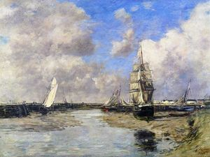 Eugène Louis Boudin - Trouville, the Jetties, Low Tide