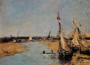 Eugène Louis Boudin - Trouville, the Jettys at Low Tide