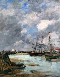 Eugène Louis Boudin - Trouville, the Jettys, Low Tide