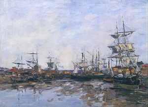 Eugène Louis Boudin - Trouville, the Port at Low Tide