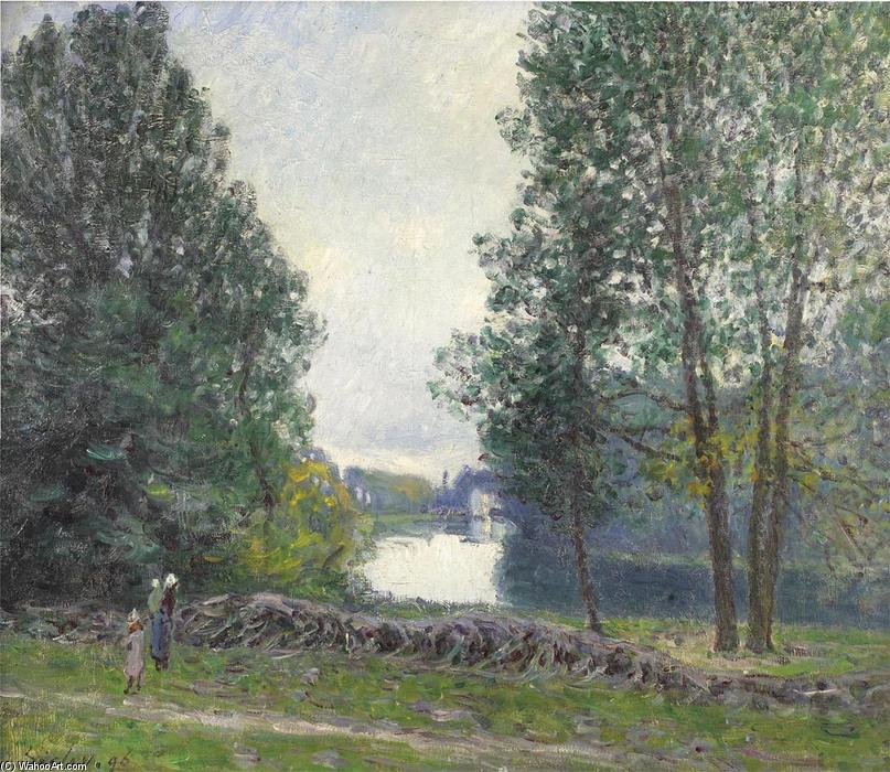famous painting A Turn of the River Loing, Summer of Alfred Sisley
