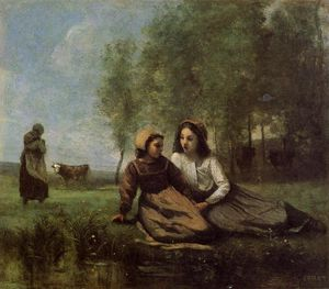Jean Baptiste Camille Corot - Two Cowherds in a Meadow by the Water