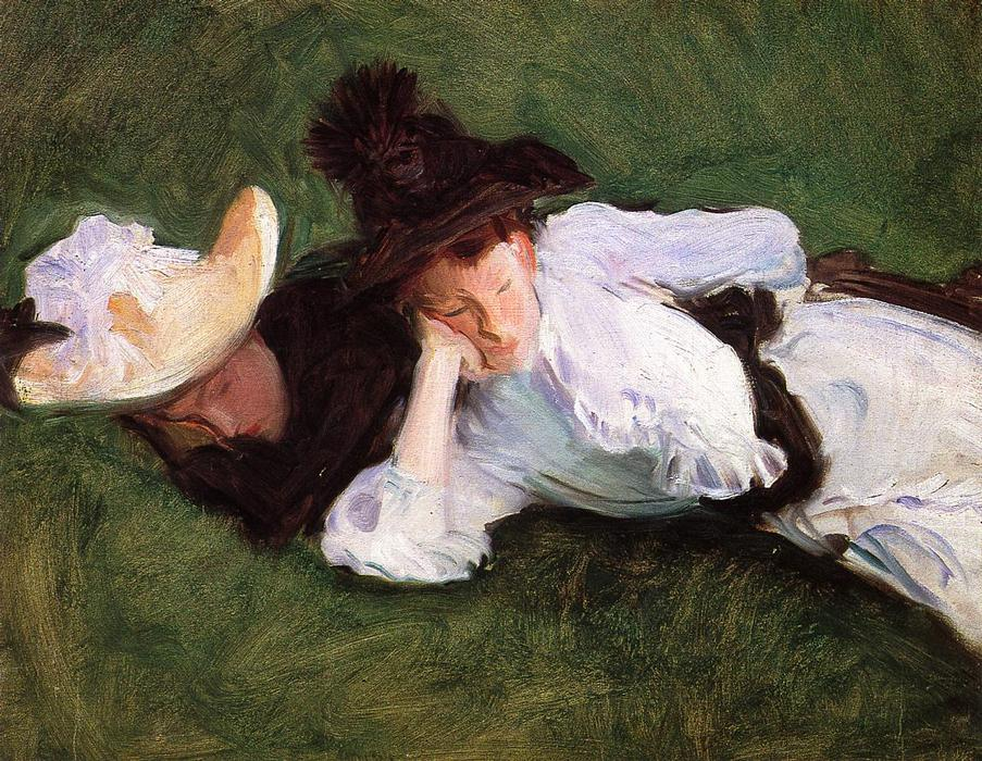 famous painting Two Girls Lying on the Grass (also known as Two Girls on a Lawn) of John Singer Sargent