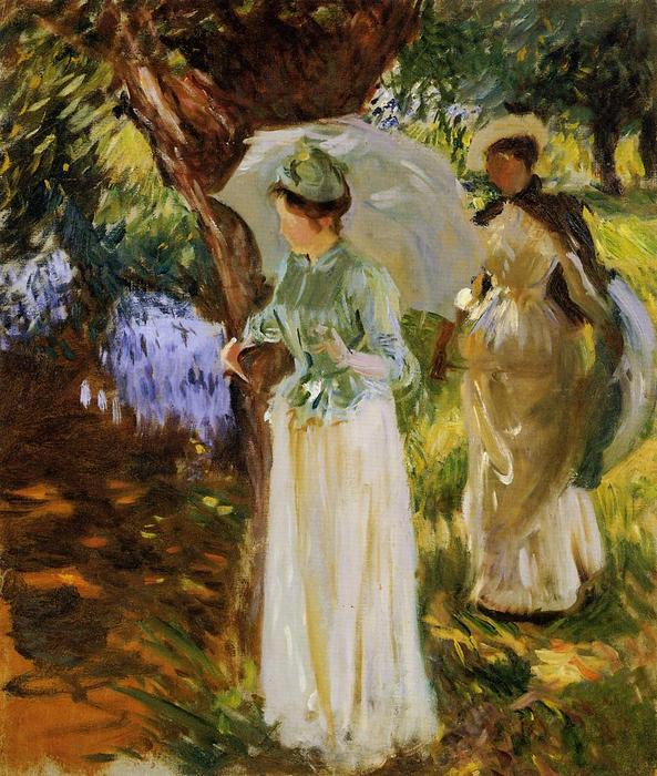 famous painting Two Girls with Parasols at Fladbury of John Singer Sargent