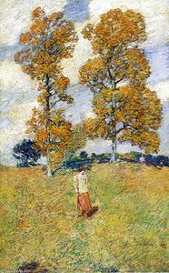 Frederick Childe Hassam - The Two Hickory Trees (also known as Golf Player)