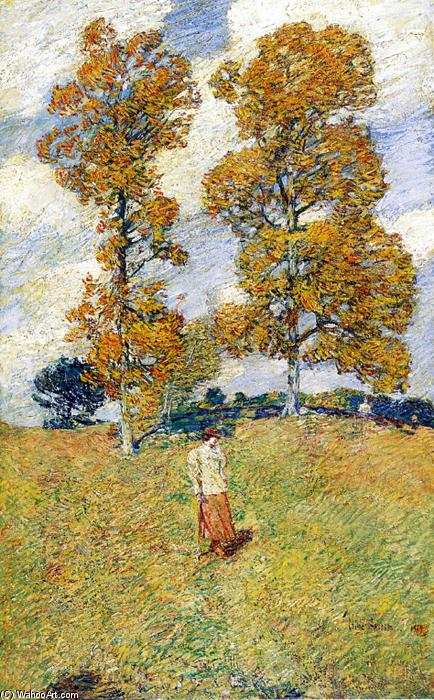 famous painting The Two Hickory Trees (also known as Golf Player) of Frederick Childe Hassam