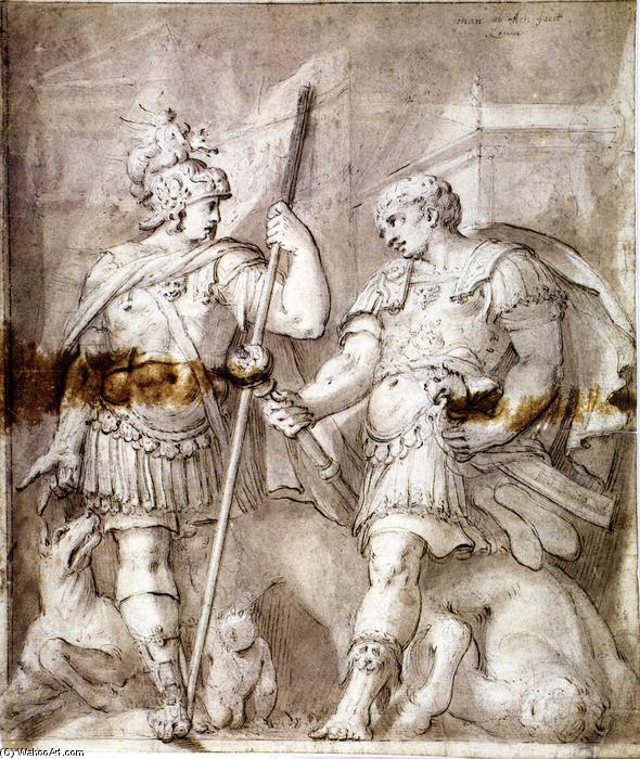 famous painting Two Warriors of Hans Von Aachen