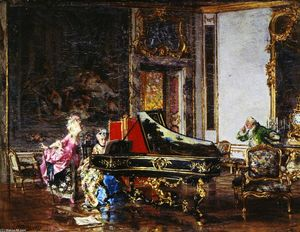 Giovanni Boldini - Two Women in Eighteenth-Century Costume at the Piano (also known as The Old Song)
